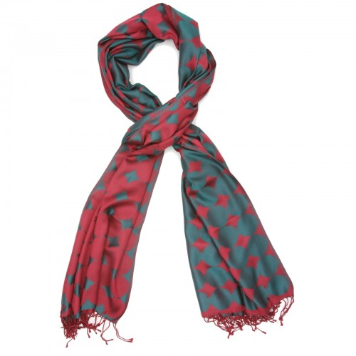 Waves Pure Satin Silk Scarf (Red & Green)