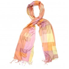 Checks Pure Satin Silk Scarf (Peach)