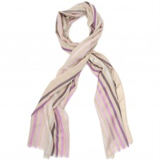 Multicoloured Vertical Lines Silk & Wool Scarf (Brown + Purple)