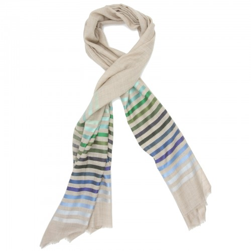 Horizontal lines  Silk & Wool Scarf (Light Brown)