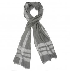 Horizontal & Vertical Line Silk + Wool Scarf (Gray)