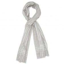 Horizontal and Vertical lines Silk & Wool Scarf (White)