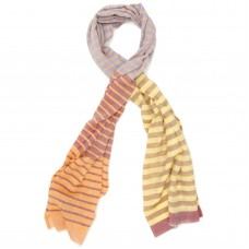 Horizontal lines Pure Wool Scarf (Brown)