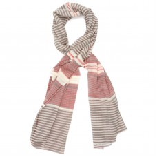 Horizontal Lines Pure Wool Scarf (Brown & Red)