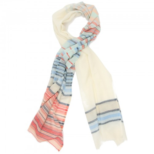 Horizontal Lines Pure Wool Scarf (Ivory)