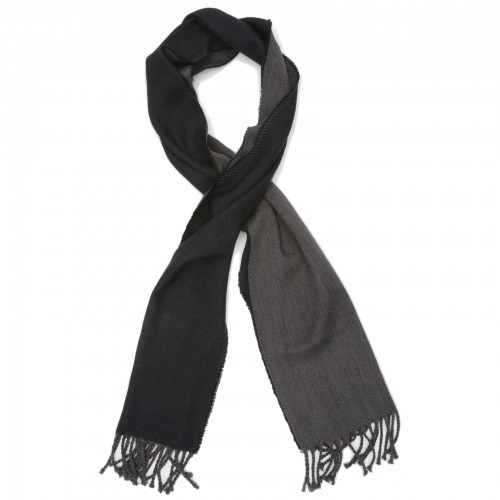Plain Reversible Pure Wool Scarf (Blue & Grey)