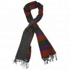 Horizontal Lines Pure Wool Scarf (Green,Violet,Orange)