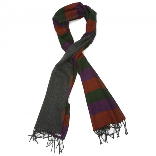 Horizontal Lines Pure Wool Scarf (Green,Violet,Orange)
