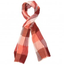 Checks Pure Wool Scarf (Shades of Red)