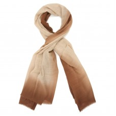 Tie Dye Pure Wool Scarf (Cream And Coffee)