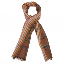 Horizontal Lien Pure Wool Scarf (Brown)