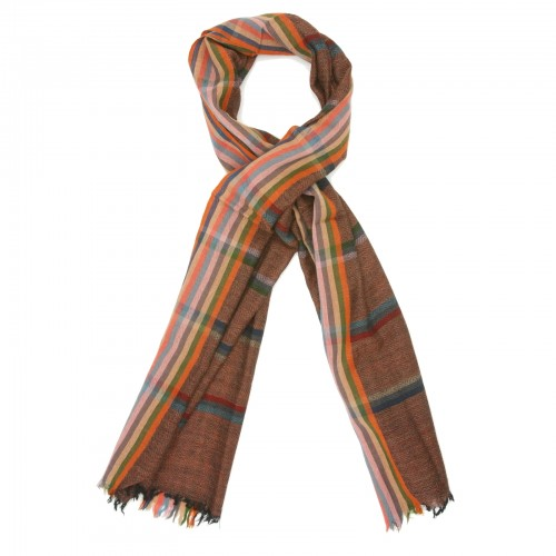 Horizontal Lien Pure Wool Scarf (Brown)