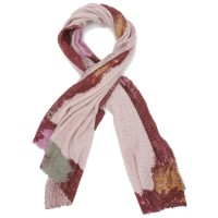 Rectangle Blocks Woollen & Bamboo Scarf (Pale pink)
