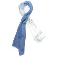 Gradient Cotton & Foil Scarf (White & Blue)