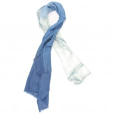Gradient Cotton & Foil Scarf (White & Blue)