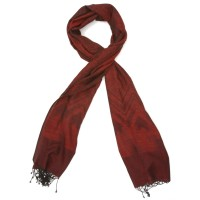 Printed Cotton & Wool Scarf (Red)