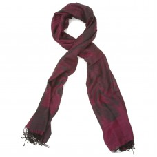 Printed Cotton & Wool Scarf (Dark Pink)