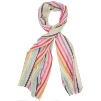 Multicoloured Vertical Lines Silk & Wool Scarf (Brown + Multicolour)
