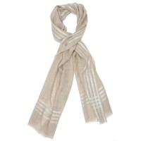 Horizontal and Vertical lines Silk & Wool Scarf (Brown)