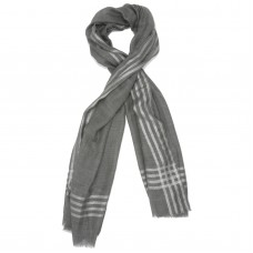 Horizontal and Vertical lines Silk & Wool Scarf (Light Grey)