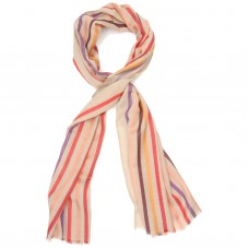 Multicoloured Vertical Lines Silk & Wool Scarf (Peach + Multicolour)