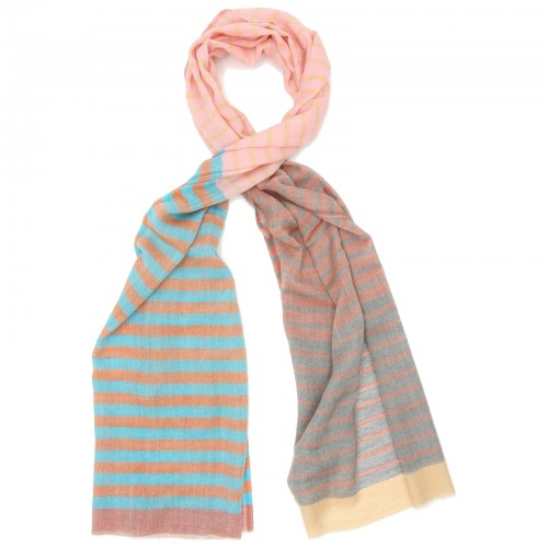 Horizontal lines Pure Wool Scarf (Pink)