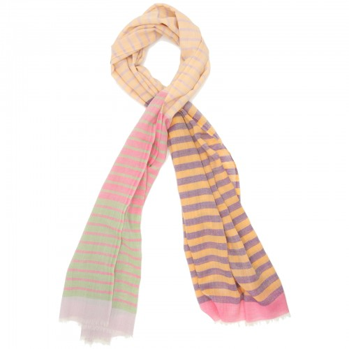 Horizontal lines Pure Wool Scarf (Purple)