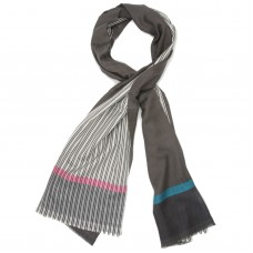 Vertical Lines & Shade Silk & Wool Scarf (Black)