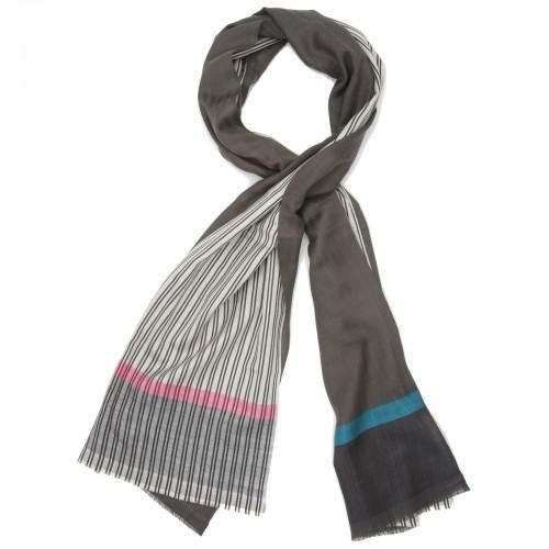 Vertical Lines & Shade Silk & Wool Scarf (Black)