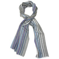 Multicoloured Vertical Lines Silk & Wool Scarf (Dark Grey)