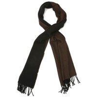 Plain Reversible Pure Wool Scarf (Brown & Black)