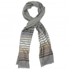 Horizontal lines  Silk & Wool Scarf (Dark Grey)