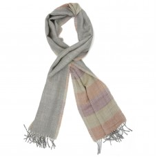 Horizontal Lines Pure Wool Scarf (Light Green,light Violet,light Orange)