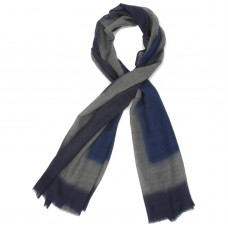 Tie Dye Silk & Wool Scarf  (Blue)