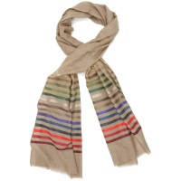 Horizontal lines  Silk & Wool Scarf (Dark Brown)