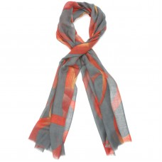 LInes Abstract Silk & Wool Scarf (Grey)