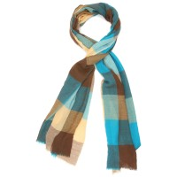 Checks Pure Wool Scarf (Shades of Blue & Brown)
