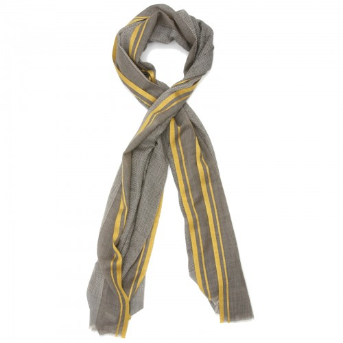 Lines Small Check Silk & Wool Scarf (Green)