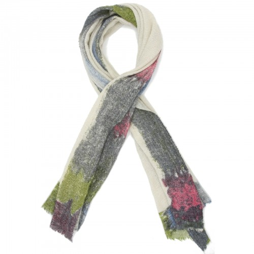 Rectangle Blocks Woollen & Bamboo Scarf (Light Grey)