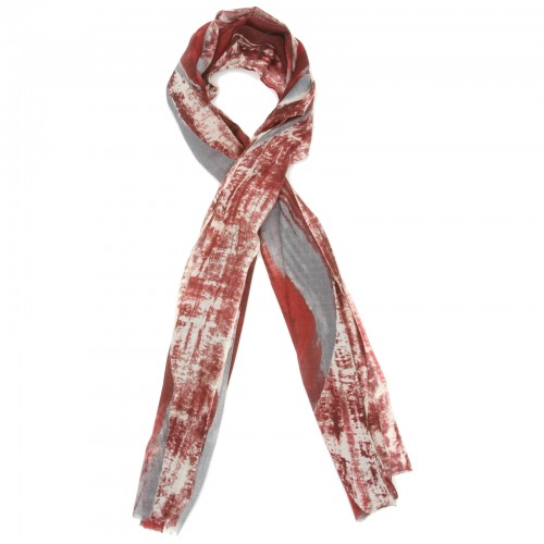 Abstract Silk & Wool Scarf (Red & Grey)