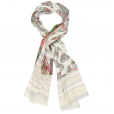 Paisley & Floral Foil & Silver Scarf (Green)