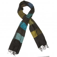 Checks Cotton + Wool Scarf (Black & Green)