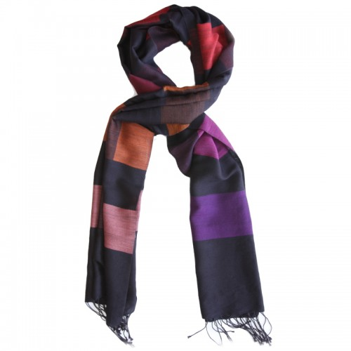 Checks Cotton + Wool Scarf (Blue & Purple)