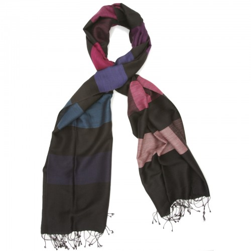 Checks Cotton + Wool Scarf (Black & Purple)