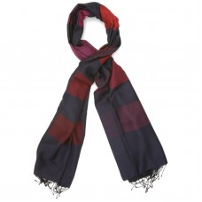 Checks Cotton + wool Scarf (Blue & Red)