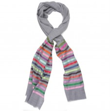Horizontal lines  Silk & Wool Scarf (Light Grey)