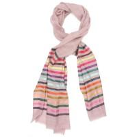 Horizontal lines  Silk & Wool Scarf (Pink)
