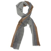 Lines Small Check Silk & Wool Scarf (Rust)