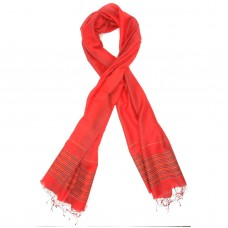 Line Silk + Wool Scarf (Red)