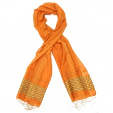 Line Silk + Wool Scarf (Orange)
